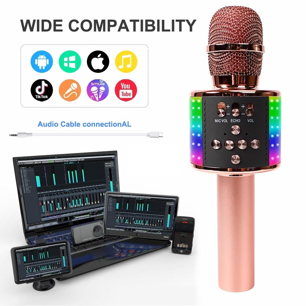 Wireless Microphone Karaoke Handheld Mic Microphone for Singing Led Lights Mic for Kids with Music Speaker Home KTV enlarge