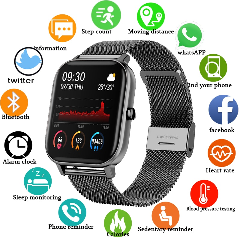 LGE 2020 New P8 Color Screen Digital Watch Women men Full Touch Fitness Tracker Blood Pressure Clock