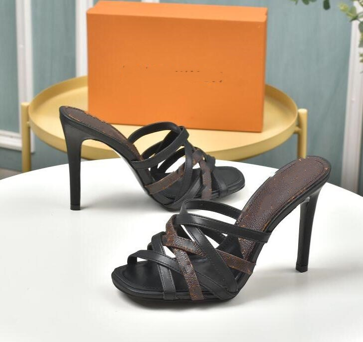 Fashion sandals designer shoes summer heel height 10cm pointed sexy sliding box size 35-40