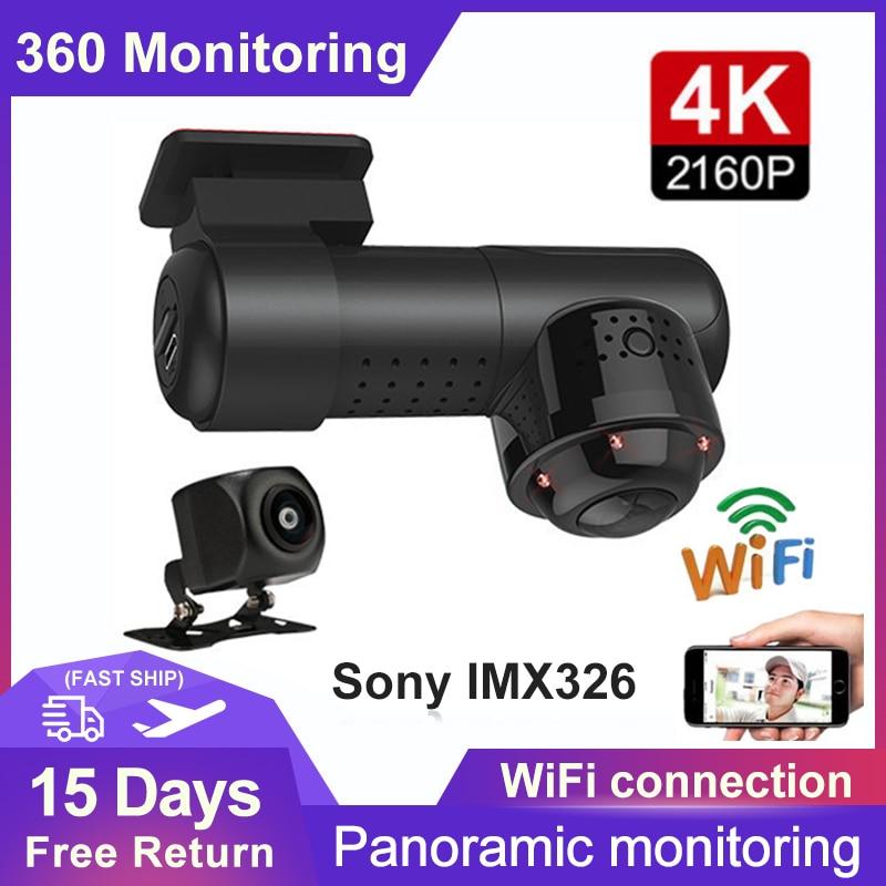 4K 2160P HD سيارة DVR Mini 360 بانوراما داش كاميرا سوني IMX326 24H وقوف السيارات رصد واي فاي للرؤية الليلية المزدوج lLens