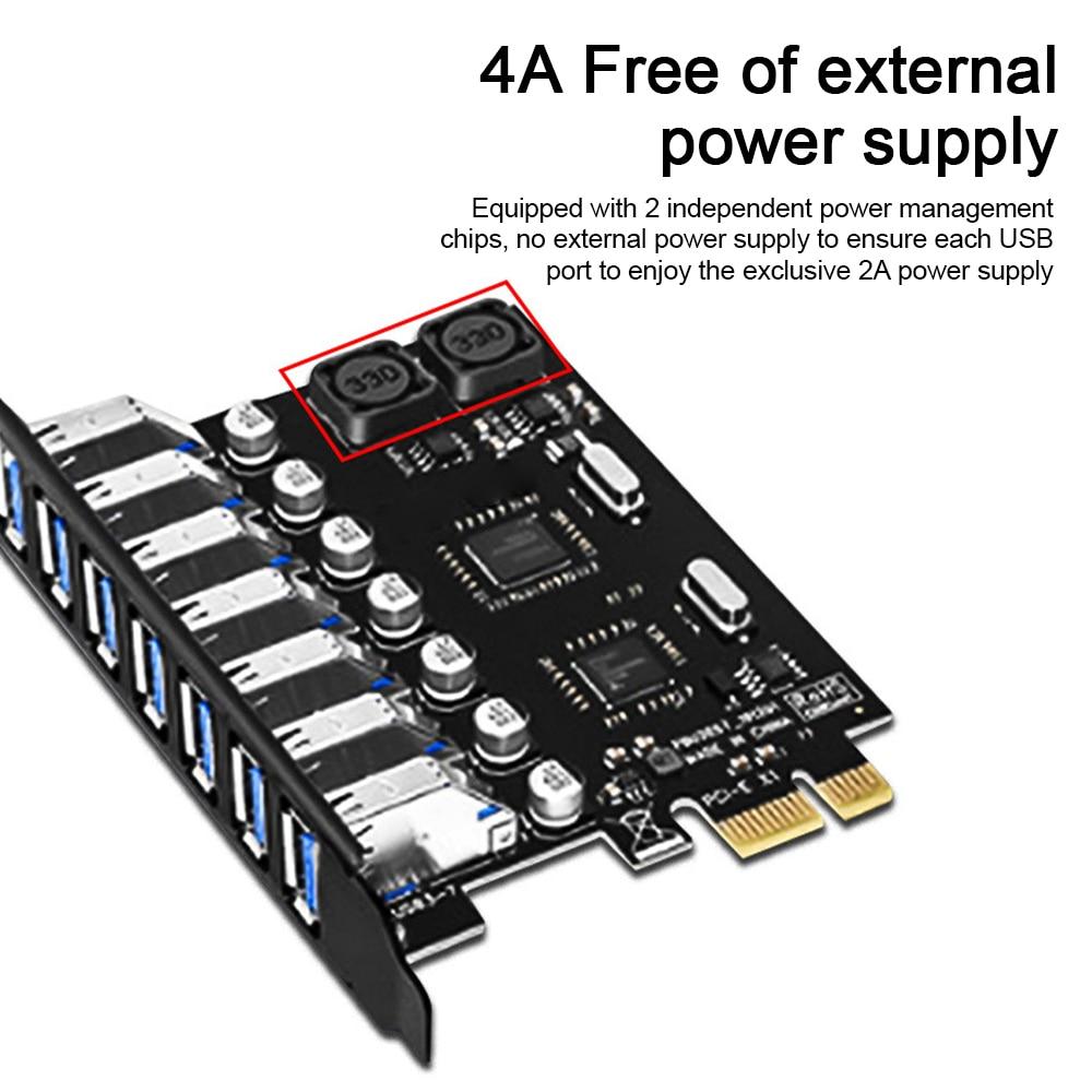 USB 3.0 PCI-E بطاقة التوسع 7 منافذ USB 3.0 مهايئ توزيع وحدة تحكم خارجية PCI Express موسع بطاقة محول لسطح المكتب
