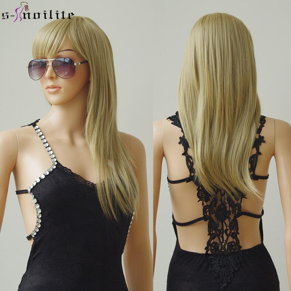SNOILITE pelucas de pelo sintético liso Natural de 23 pulgadas con flequillo, peluca suave sin pegamento resistente al calor para mujeres
