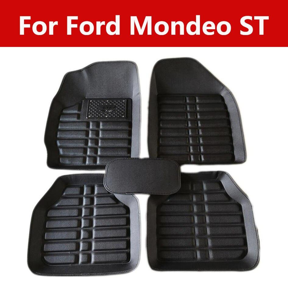 Tapetes de couro do carro ajuste dianteiro/traseiro conjunto completo para ford mondeo st all weather protetor esteira