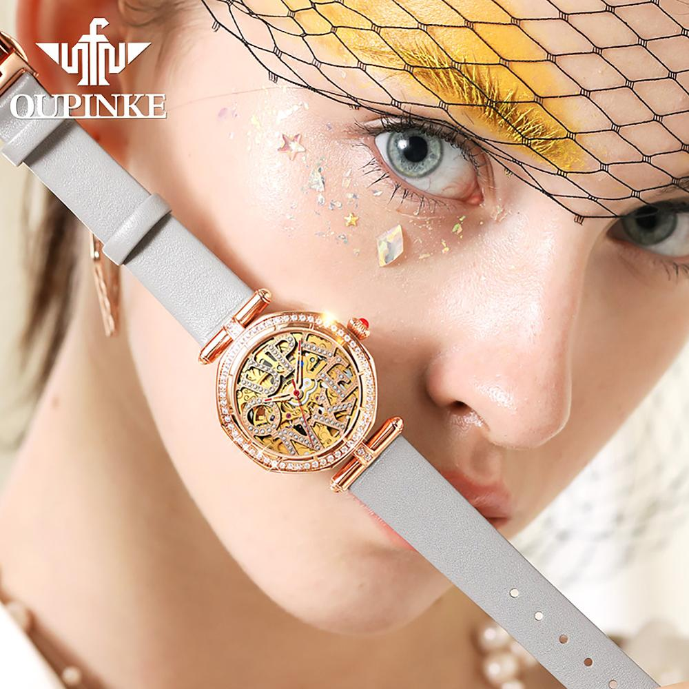 Luxury Brand Automatic Mechanical Watch For Women Stainless Steel Waterproof Ladies Watches Leather Strap CE EU Certification enlarge