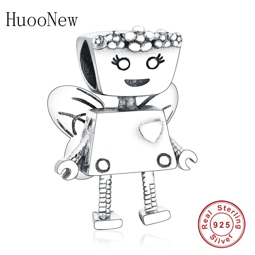 2019 sommer 925 Sterling Silber Roboter Perlen Floral Bella Bot Charme Fit Original Charme Armband Für Frau DIY Jewelrly