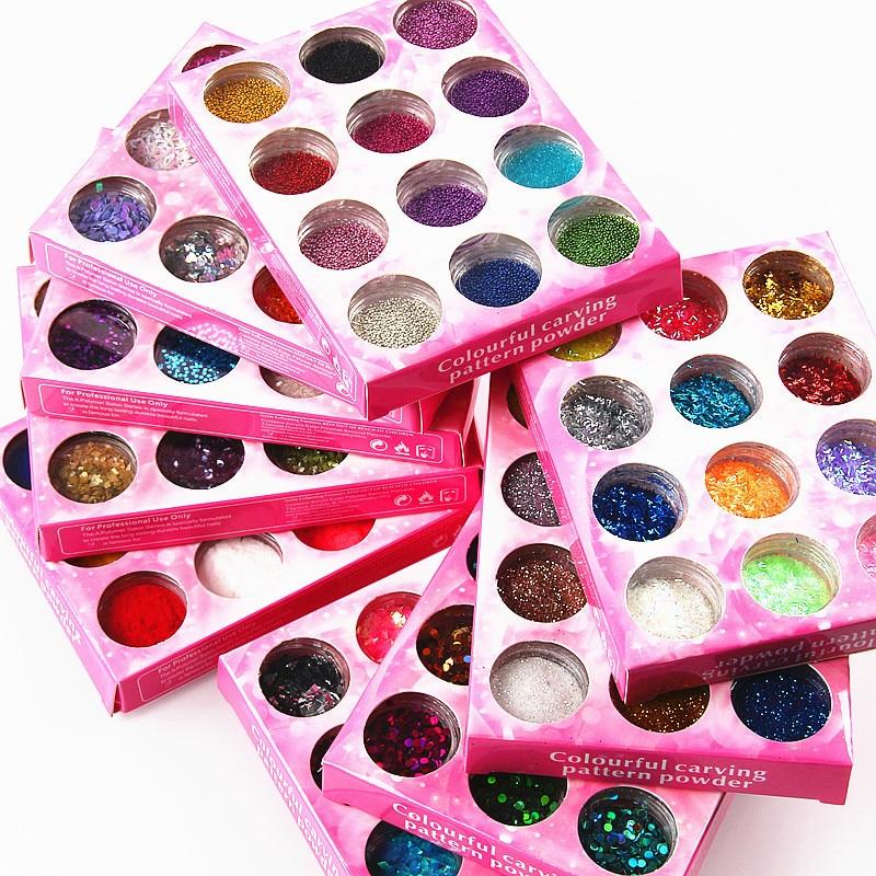12 frasco/conjunto prego brilho em pó flocos holográficos multi-tamanho iridescente paillettes unhas lantejoulas manicure arte do prego decorações