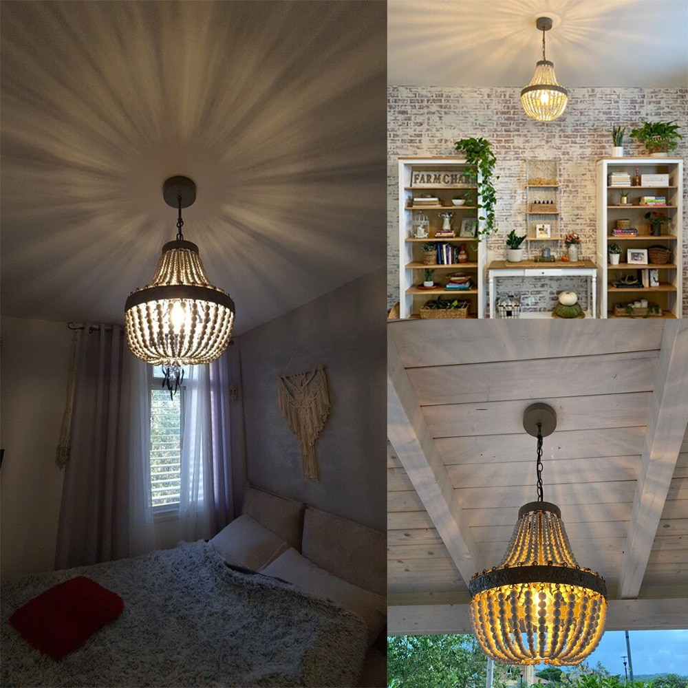 American country style retro hanging Lime white wooden beads pendant lamp LED lights E27 AC 110V 220V for bedroom living room  - buy with discount