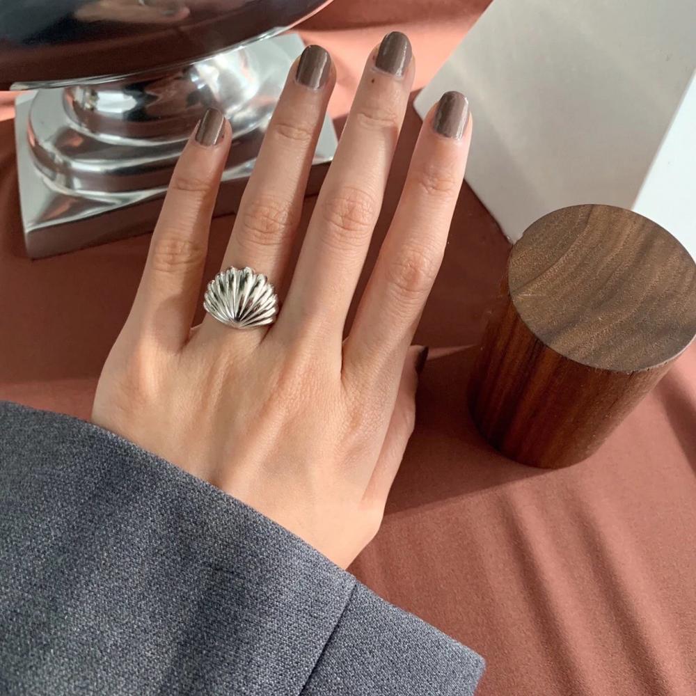 Elegant  100% Authentic 925 sterling silver Shell Shape Rings Silver Minimalist High Quality Rings adjust TLJ897
