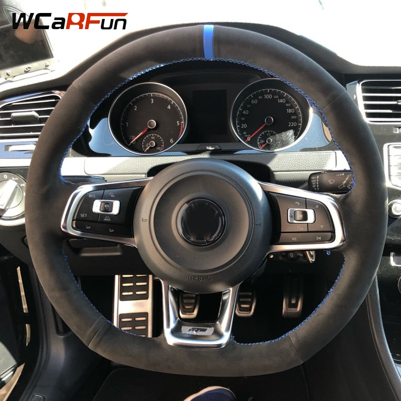 for volkswagen vw new polo new jetta 2016 multi function steering wheel audio control buttons WCaRFun Black Suede Hand-stitched Car Steering Wheel Cover for Volkswagen Golf 7 GTI Golf R MK7 VW Polo GTI Scirocco 2015 2016