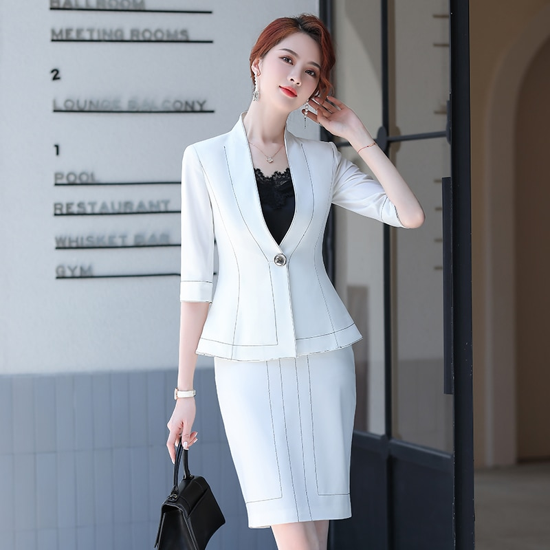 رسمي المرأة بدلة عمل نصف كم الربيع الصيف مكتب العمل ارتداء مهنة الأعمال الملابس مجموعة السيدات المهنية بليزر