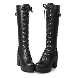 Platform Lacing Knee High Boots Women Fashion Black Punk Style Square Heel Woman Leather Shoes White Footwear Autumn Winter
