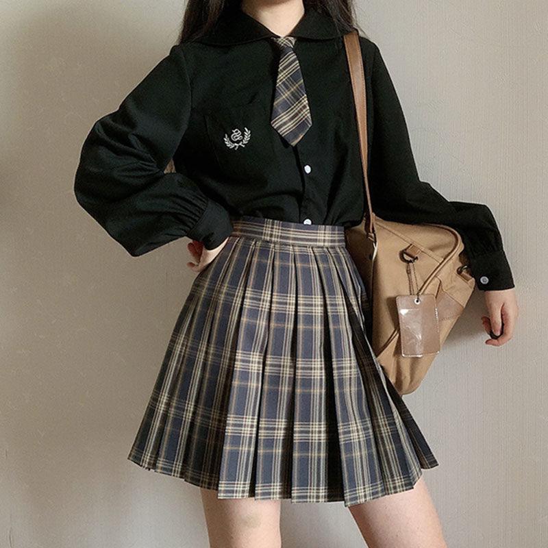Harajuku blusas femininas punk streetwear preto casual gótico blusa estudante manga longa solta turn down collar camisa topos 2020