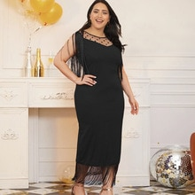 Plus Size Women Party Dress Sexy Tassel Sleeveless Black Summer Dresses 2021 New Arrivals Mesh Stitc