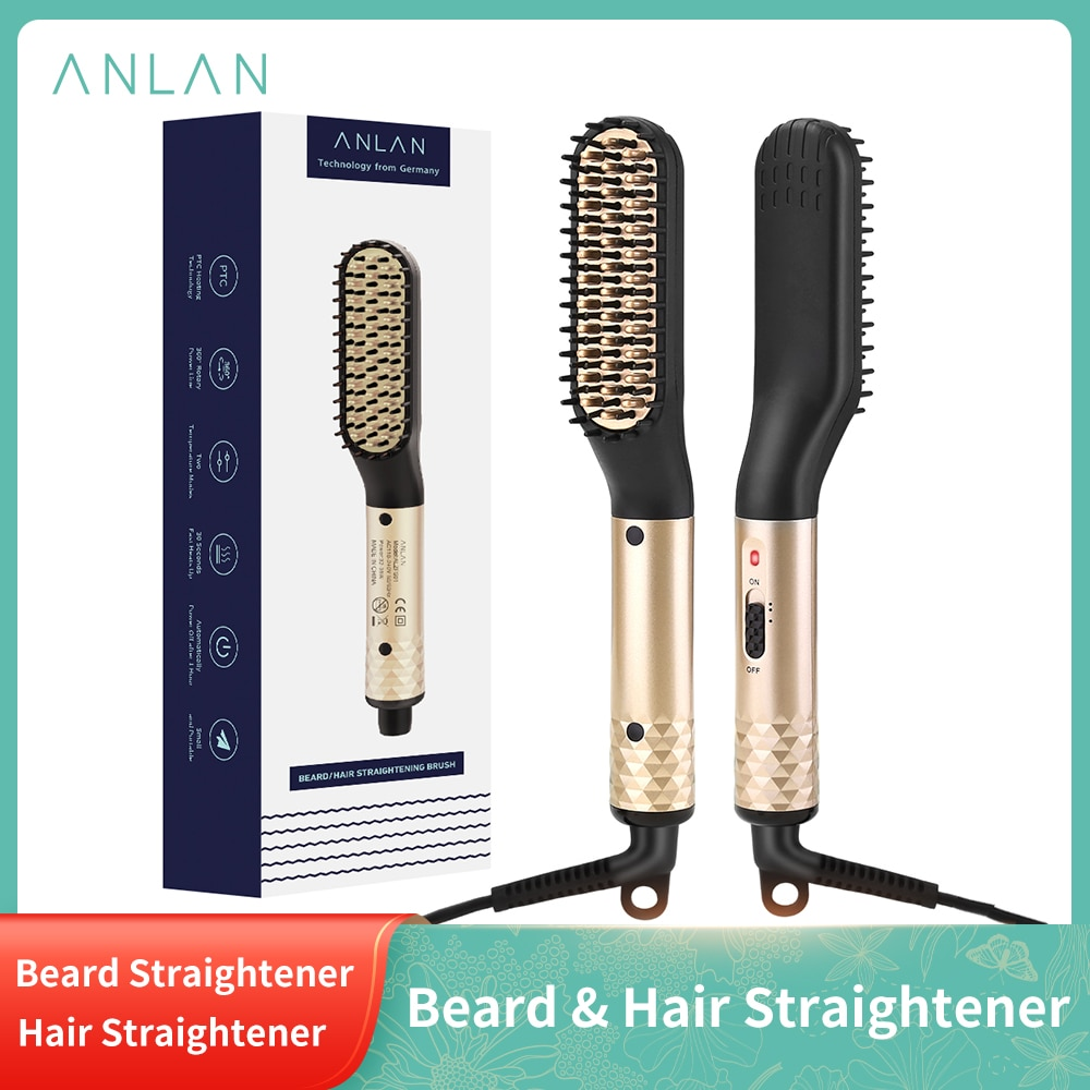 ANLAN Hair Comb Brush Beard Straightener Multifunctional Hair Straightening Comb Hair Curler Quick B
