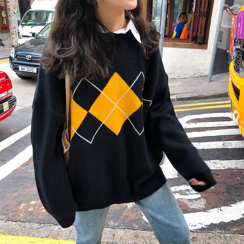 Korean College Style Autumn Winter Geometric Pattern Argyle Pullovers Loose Oversized O-Neck Knitted