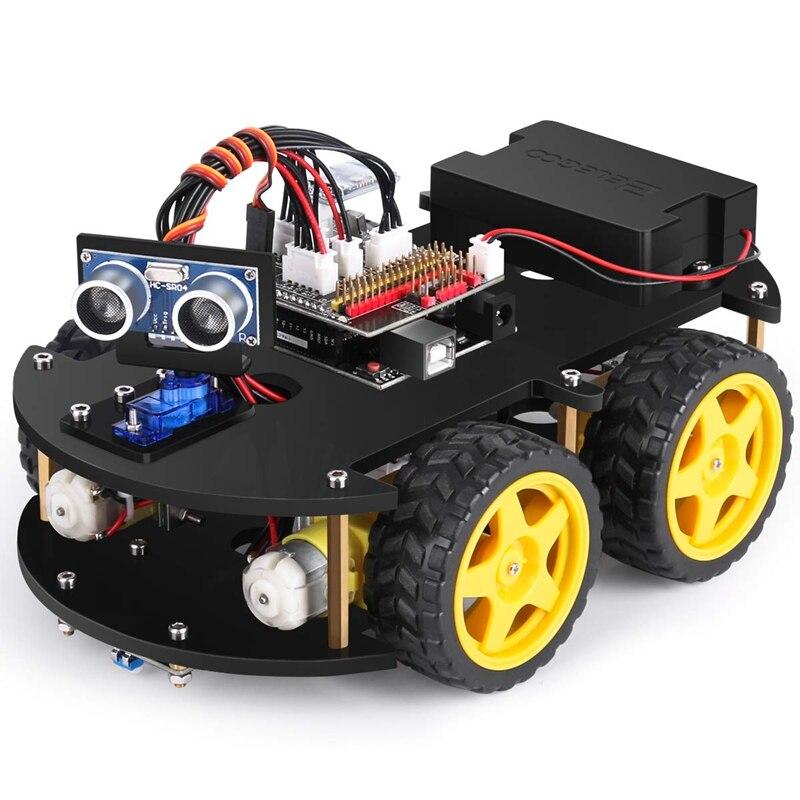 Para uno r3 projeto inteligente robô carro kit ultra-sônico sensor ir módulo de controle remoto etc. Robô de carro de brinquedo inteligente e educacional