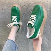 women sneakers round head leather platform sneakers solid lace up casual vulcanize sports shoes outdoor comfortable walking shoe