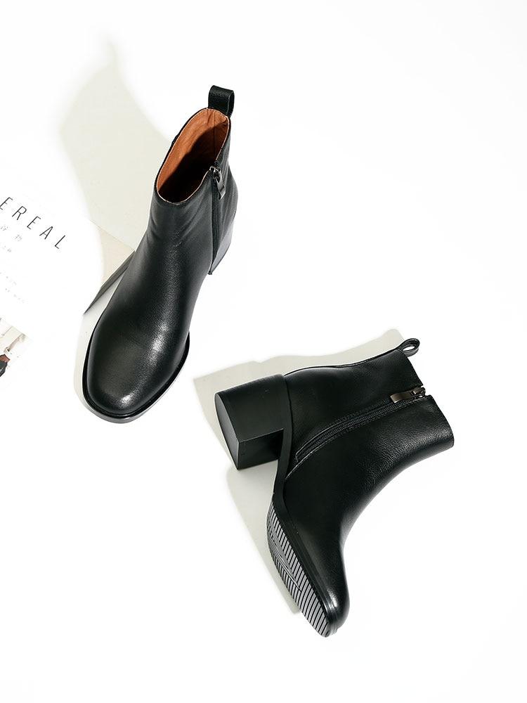 Duidicore حقيقية جلد البقر كعب سميك أحذية النساء الأحذية الجلدية واحدة ساحة تو أحذية بوت قصيرة سميكة سوليد حذاء من الجلد