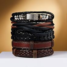 RINHOO vente en gros Vintage Bracelets en cuir décontracté charme multicouche tresse Bracelets denveloppement Bracelets Punk mâle corde chaîne hommes bijoux