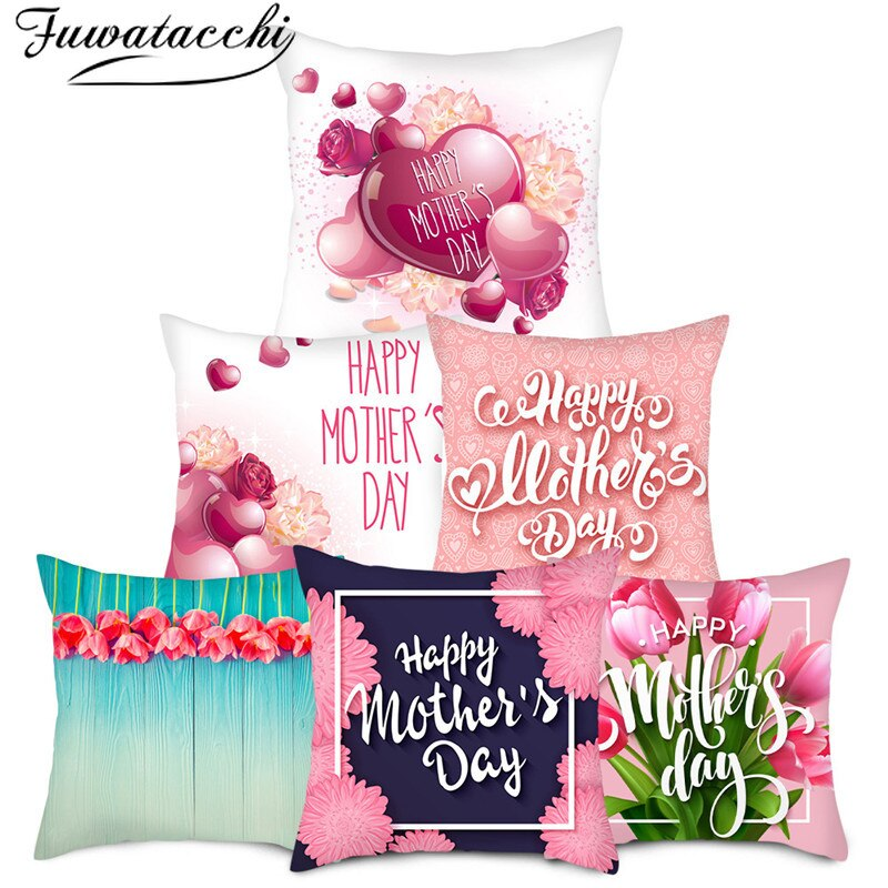 red rose flower heart polyester decorative throw pillowcase i love you letter cushions cover for sofa car valentine s day gift Fuwatacchi Mother's Day Gift Pillow Cover Red Heart love Cushion Cover Printed Throw Pillowcase for Sofa Decorative Pillow