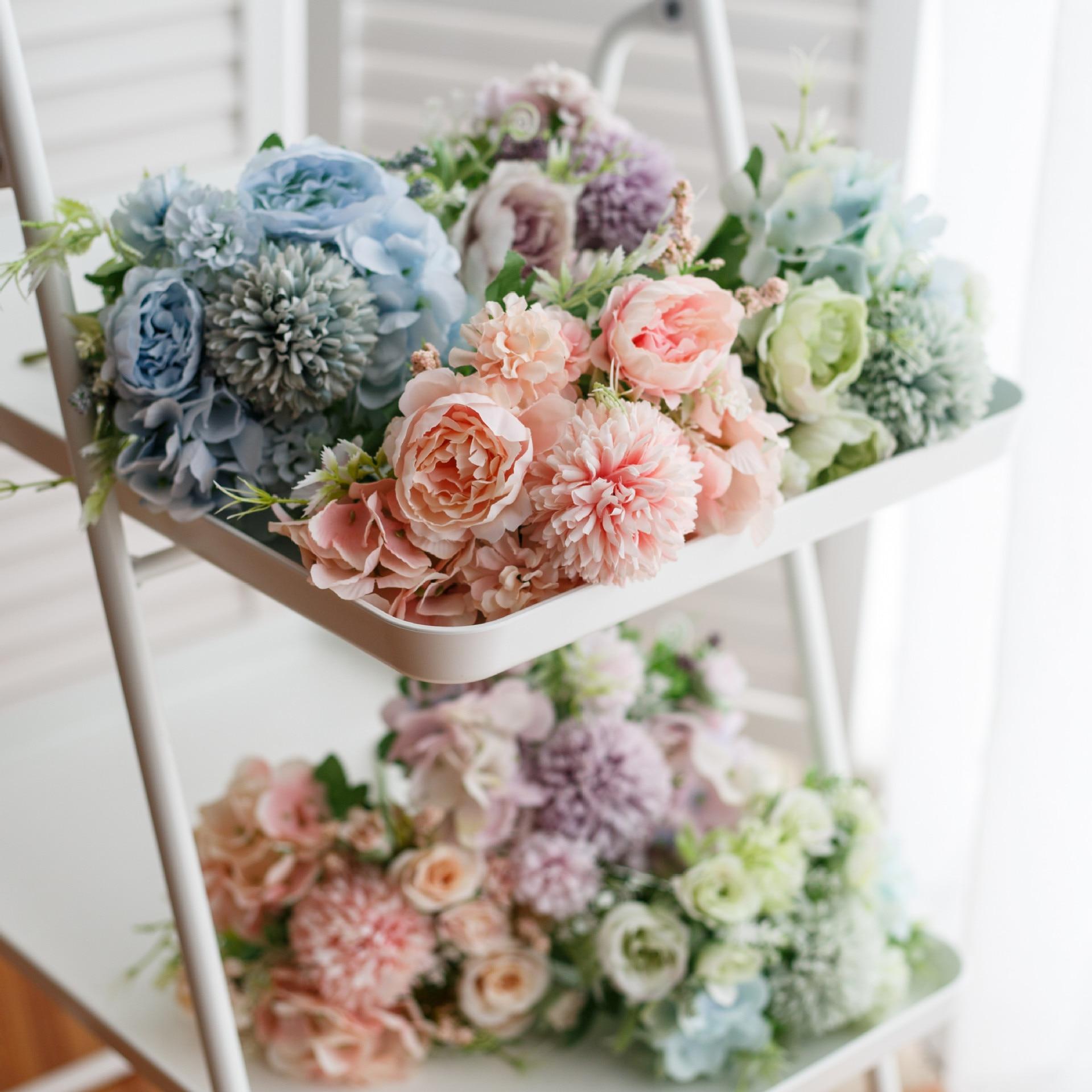 Simulación nórdica flor peonía ramo de boda accesorios de boda flores decoración del hogar plantas artificiales para bodas Pared de flores