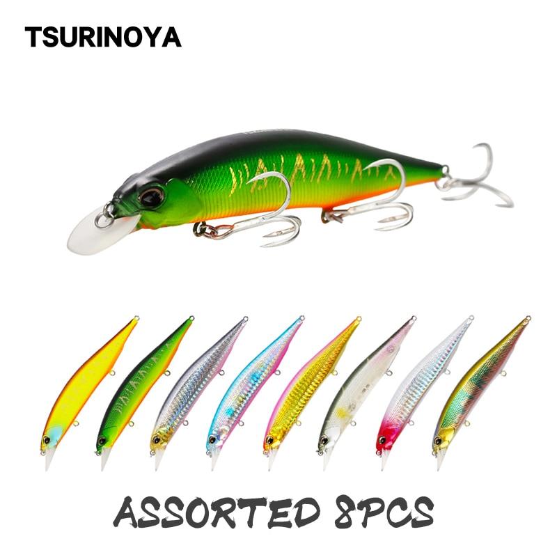 Tsurinoya isca de pesca 8 pçs dw51 suspender minnow isca 120mm 19.5g jerkabit wobblers swimbait flutuante crankbait pique baixo isca