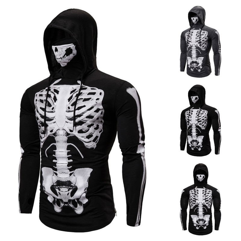 Suéter deportivo elástico para hombre, traje de Ninja con capucha para Halloween, Cosplay de manga larga, máscara de calavera de esqueleto completo, camiseta fina con capucha