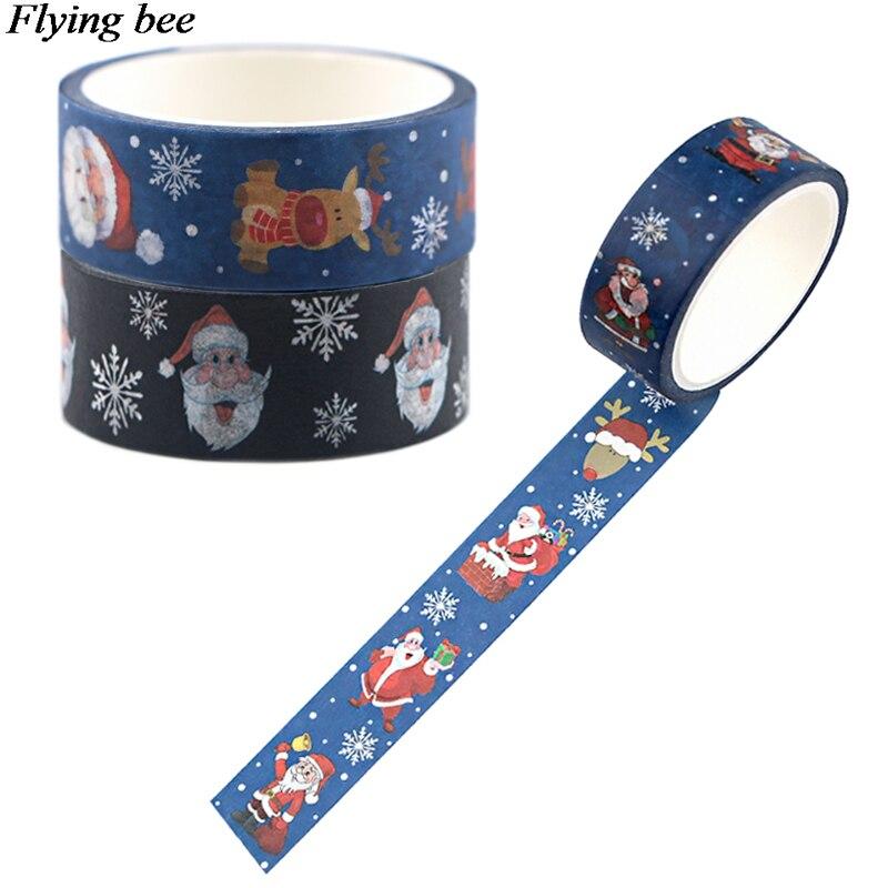 20 pçs/lote Flyingbee 15mmX5m Papai Noel e presentes Fita Adesiva De Papel Washi Tape DIY Adesivo decoração Do Natal X0698