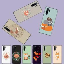 Fox zwierząt cute cartoon czarny telefon komórkowy Case dla Huawei P9 P10 P20 P30 Pro Lite inteligentny Mate 10 Lite 20 Y5 Y6 Y7 2018 2019