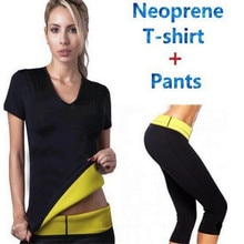 (Broek + T-shirt) Super Shaper Controle Slipje Shorts Vrouwen Corset Stretch Neopreen Overhemd Zweet Afslanken Body Shaper
