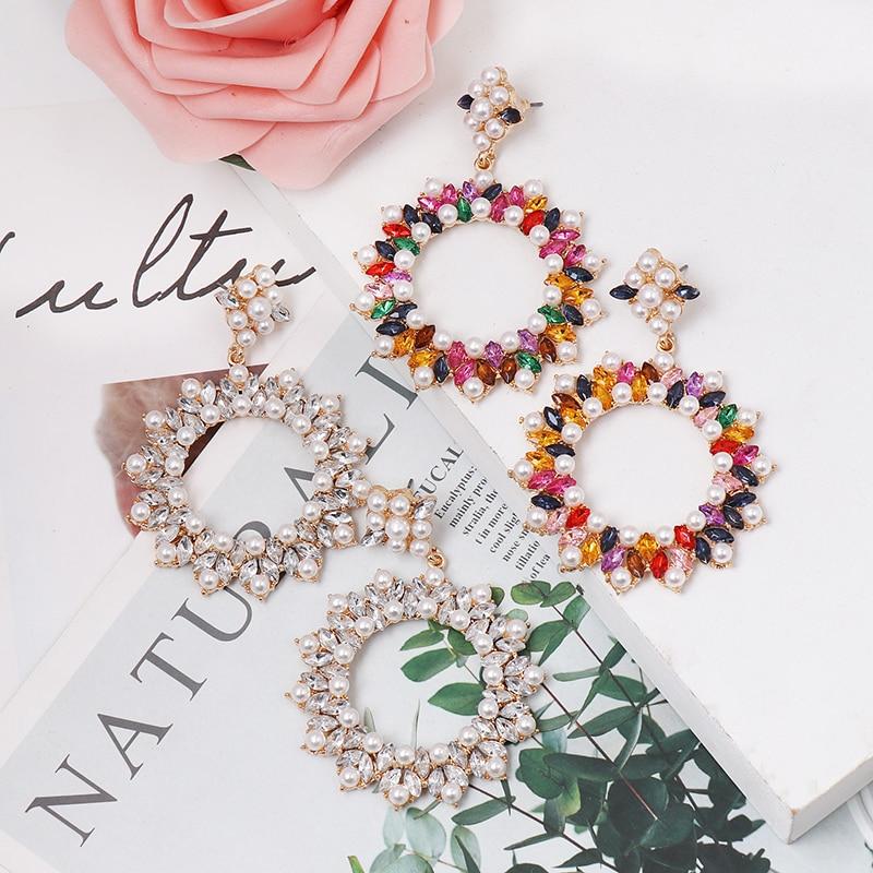FASHIONSNOOPS 2019 nouveau Baroque luxe coloré cristal grand suspendus boucles doreilles pour les femmes simulé perles ronde goutte Pendientes