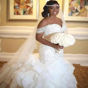 Elegant African Mermaid Wedding Dresses 2020 Ruffles Skirt Lace Applqiue Off The Shoulder Pearls Plus Size Bridal Gowns