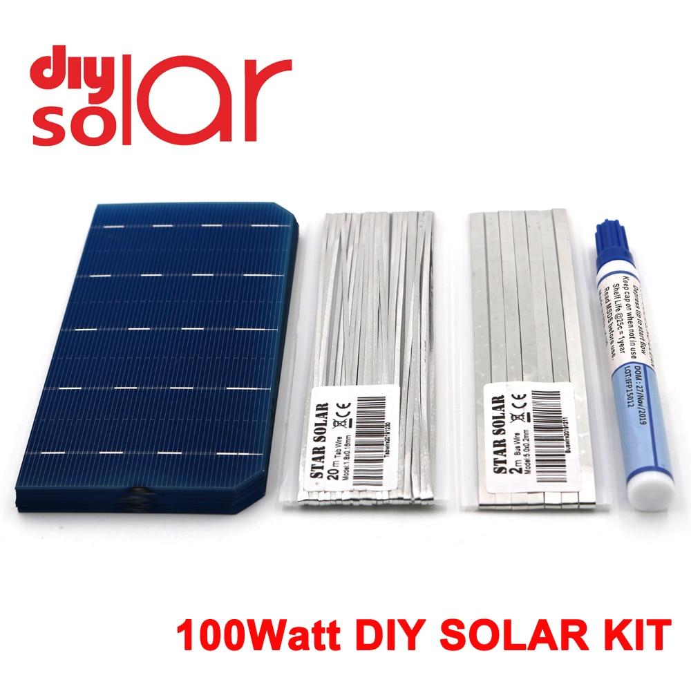 """100Watt Kit DIY Solar Panel 78X156mm Monocrystall Solar Cell 100 W 3 X 6 """" 100 W Tabbing Wire Buswire Flux Pen 100 WATT Flexible"""