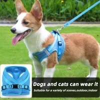 reflective puppy harness vest with walking lead leash polyester harness adjustable kitten collar harness for small medium dog