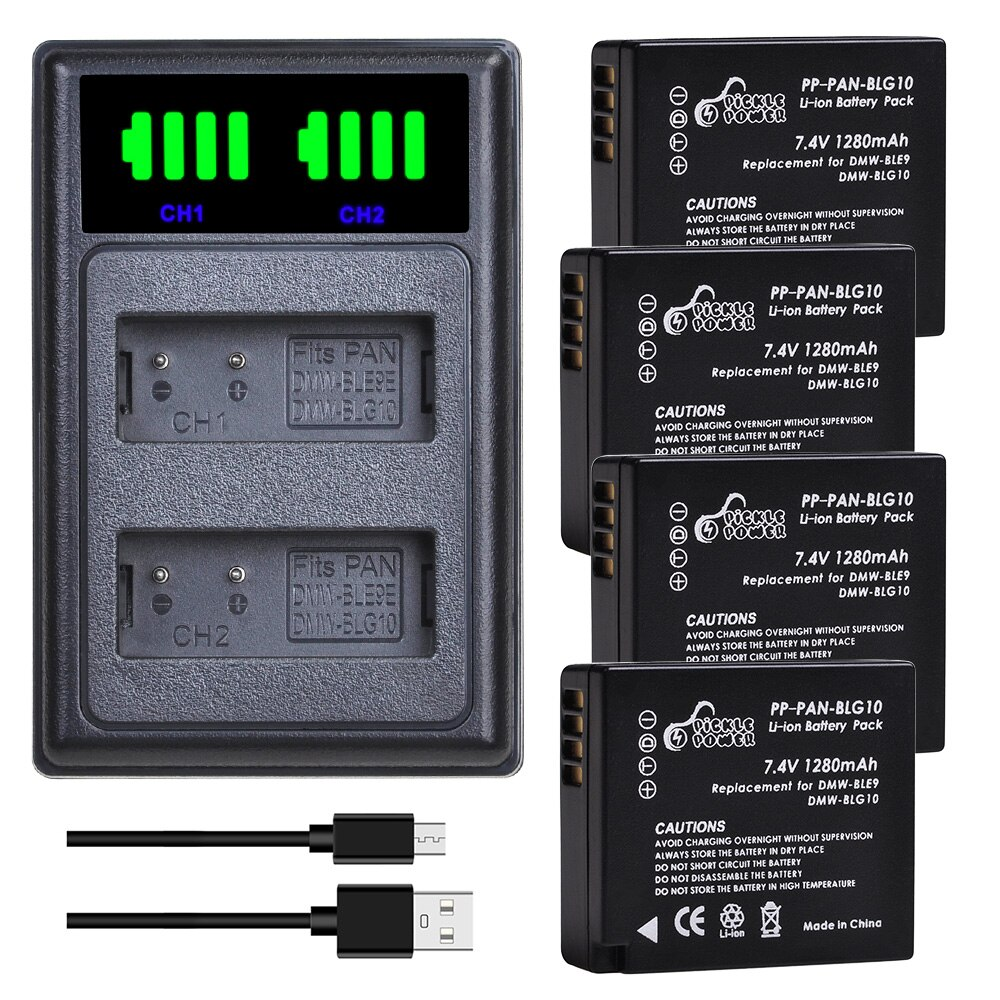 DMW-BLG10 BLG10E BLG10PP BLE9 BLE9E cargador de batería Kits para Panasonic Lumix DMC GF6 GX7 GF5 ZS100 ZS60 LX100 GX85 DC-ZS70 GX80.