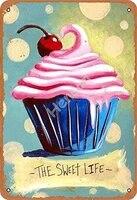 Cupcake The Sweet Life affiche en metal  affiche de garage  decoration de bar  pub  maison  vintage retro