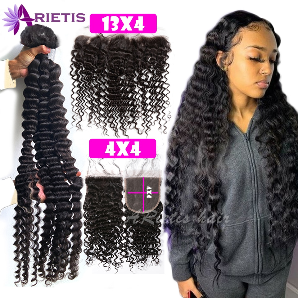 36 38 40 inch Deep Wave Bundles With Closure Indian Remy Human Hair Bundles With Frontal Water Deep Curly 4x4 Lace Closure Hair