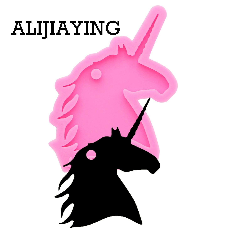DY0137, llavero creativo con Cabeza de unicornio brillante de anime, molde de silicona DIY, colgante de Llavero artesanal para niña, joyería, llaveros divertidos