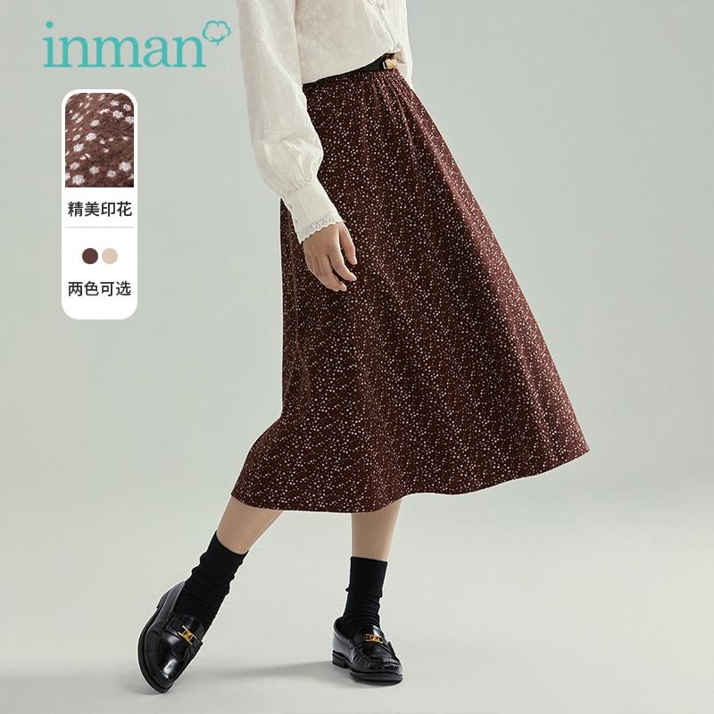 إنمان الخريف الشتاء الأزهار طباعة الجمالية تنورة أنيقة سيدة الإناث الرجعية مرونة منتصف واسط خط القطن أسفل ارتداء