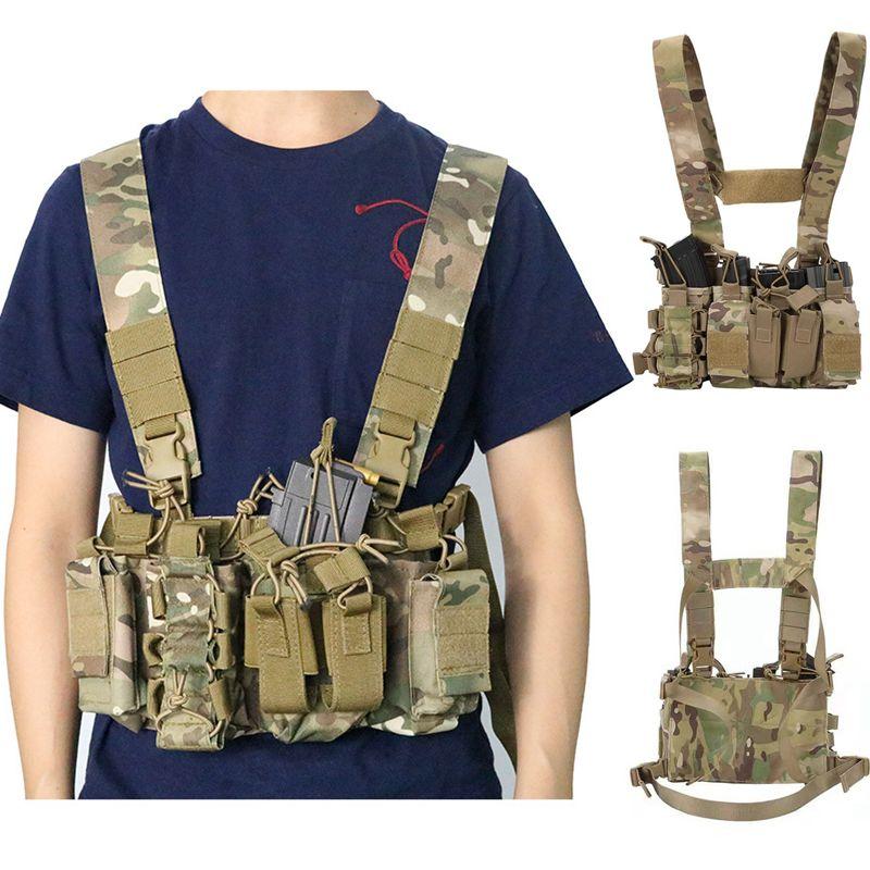 Chaleco táctico 600D, bolsa de aparejo para el pecho, mazo de cables...