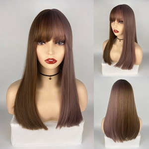 Medium Straight Hair Brown to Purple Synthetic Natural Wig With Air Bangs For Women Party Cosplay Wig