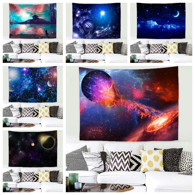 Гобелен с изображением галактики планеты ночного неба звезд Вселенная гобелены хиппи настенные ковры настенная ткань художественный Деко...