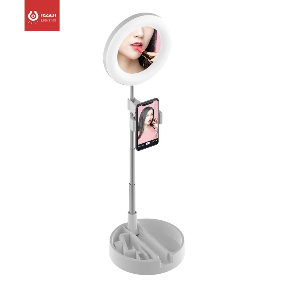 مصباح LED قابل للطي ثلاثي الألوان ، حلقة إضاءة LED قابلة للسحب للماكياج ، حامل مصباح البث المباشر للتدريس عبر الإنترنت ، مع مرآة