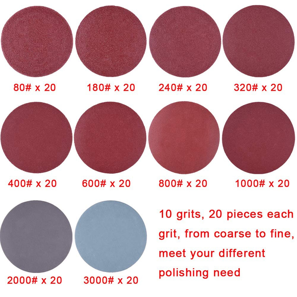 203Pcs 2 Inch Sander Disc Sanding Discs 80-3000 Grit Paper with 1Inch Abrasive Polish Pad Plate + 1/4 Inch Shank for Rotary