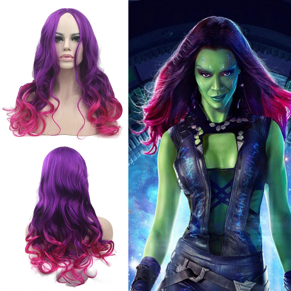New unisex cosplay accessories galaxy escort superhero gamora women video long hair curly wig cosplay anime wig