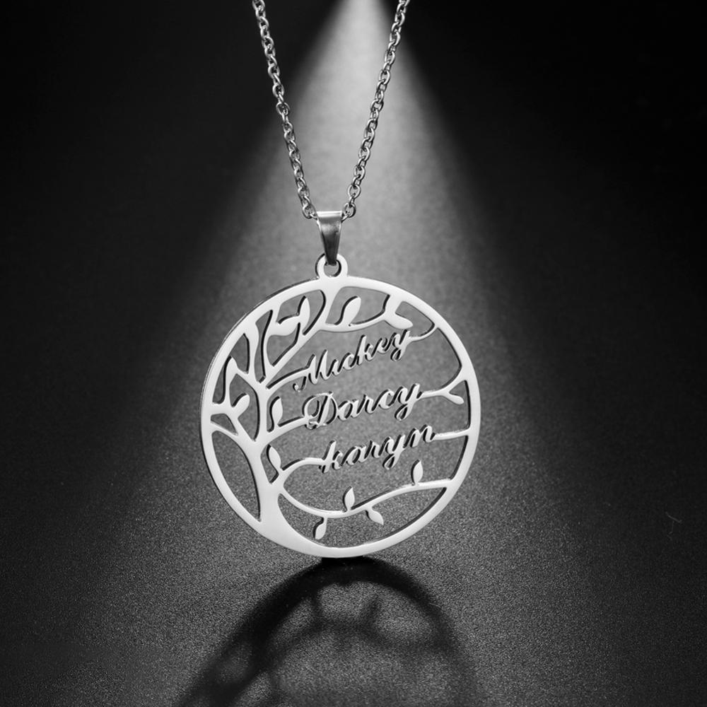 My Shape Custom Tree of Life Necklace Stainless Steel Family Name Customized Personalized Letter Round Pendant Necklaces Gift недорого