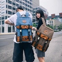 mens and womens backpack fashion trend canvas youth computer college students bag leisure travel