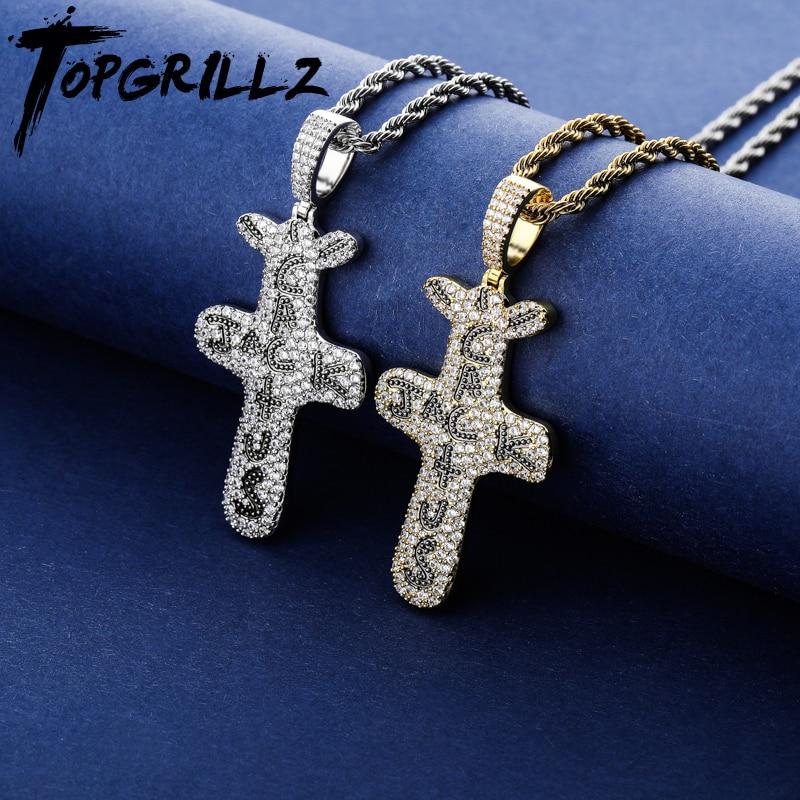 Подвеска и ожерелье TOPGRILLZ, с покрытием из кубического циркония, золотого и серебряного цвета, в стиле хип-хоп, для мужчин и женщин