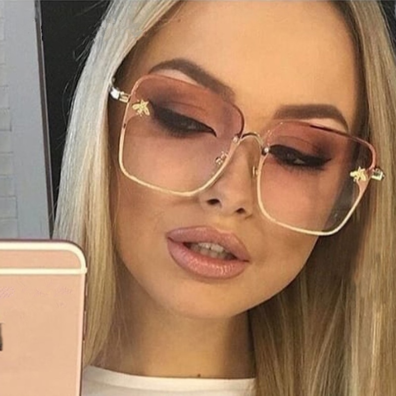 2020 New Lady Oversize Rimless Square Bee Sunglasses Women Brand Fashion Small Gradient Sun Glasses Female UV400