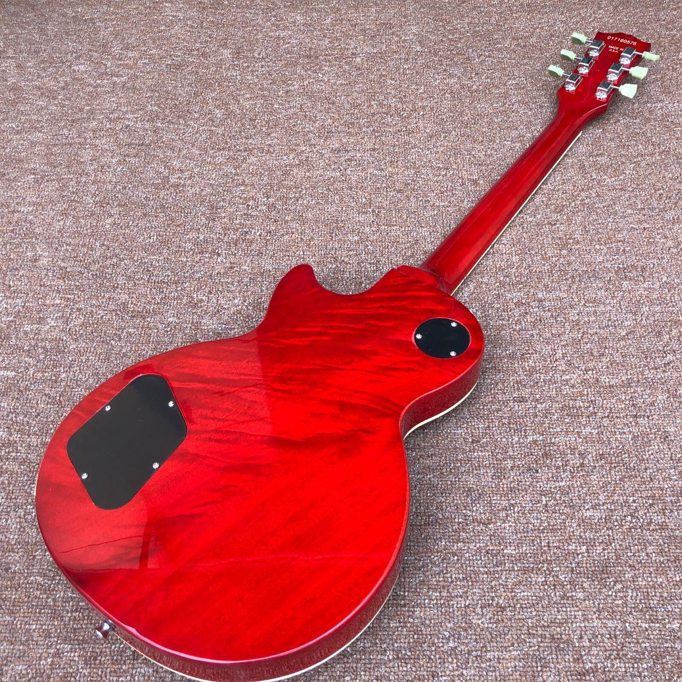 Custom Electric Guitar.Rosewood fingerboard.Sunburst color Tiger flame maple top gitaar.mahogany body.handmade 6 stings guitarra enlarge